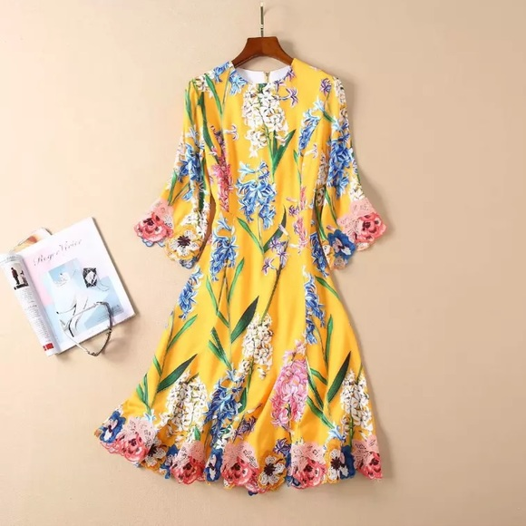 fbae42fbf3e Dresses | Hp Size Corrected Yellow Floral Embroidered Dress | Poshmark